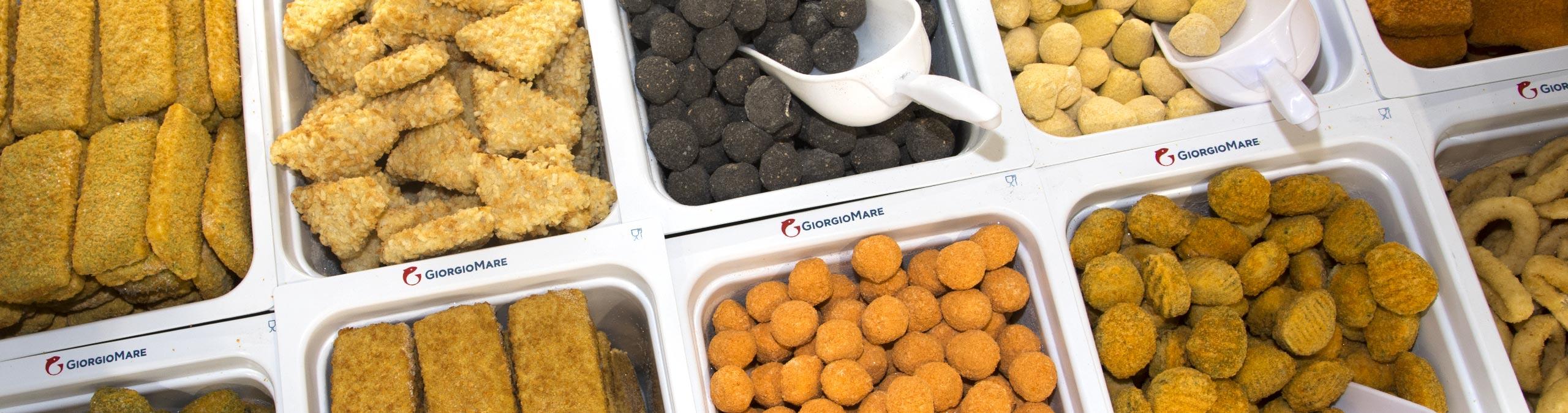 Panati GiorgioMare - All'interno dei più grandi negozi GiorgioMare® è possibile trovare anche un'ampia e variegata selezione di gustosissimi panati di pesce, carne e sfiziosità, pronti da cuocere.